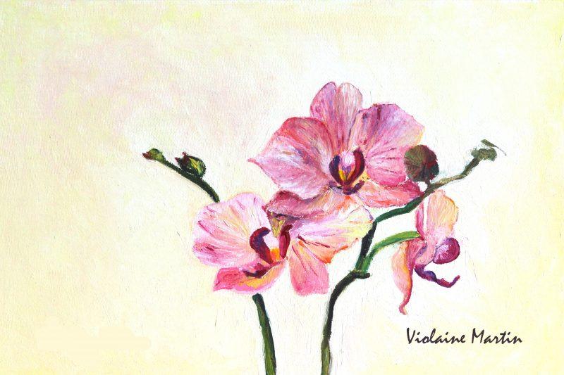 Orchidée - Peinture à l'huile - Le Doulieu 2011 - Violaine Martin Créations - Design textile - tissage jacquards, unis et velours - aquarelles botaniques - Hauts-de-France