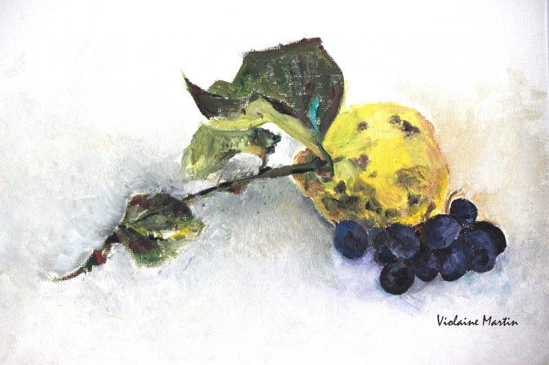 Coing et raisin - Peinture à l'huile - Le Doulieu 2011 - Violaine Martin Créations - Design textile - tissage jacquards, unis et velours - aquarelles botaniques - Hauts-de-France