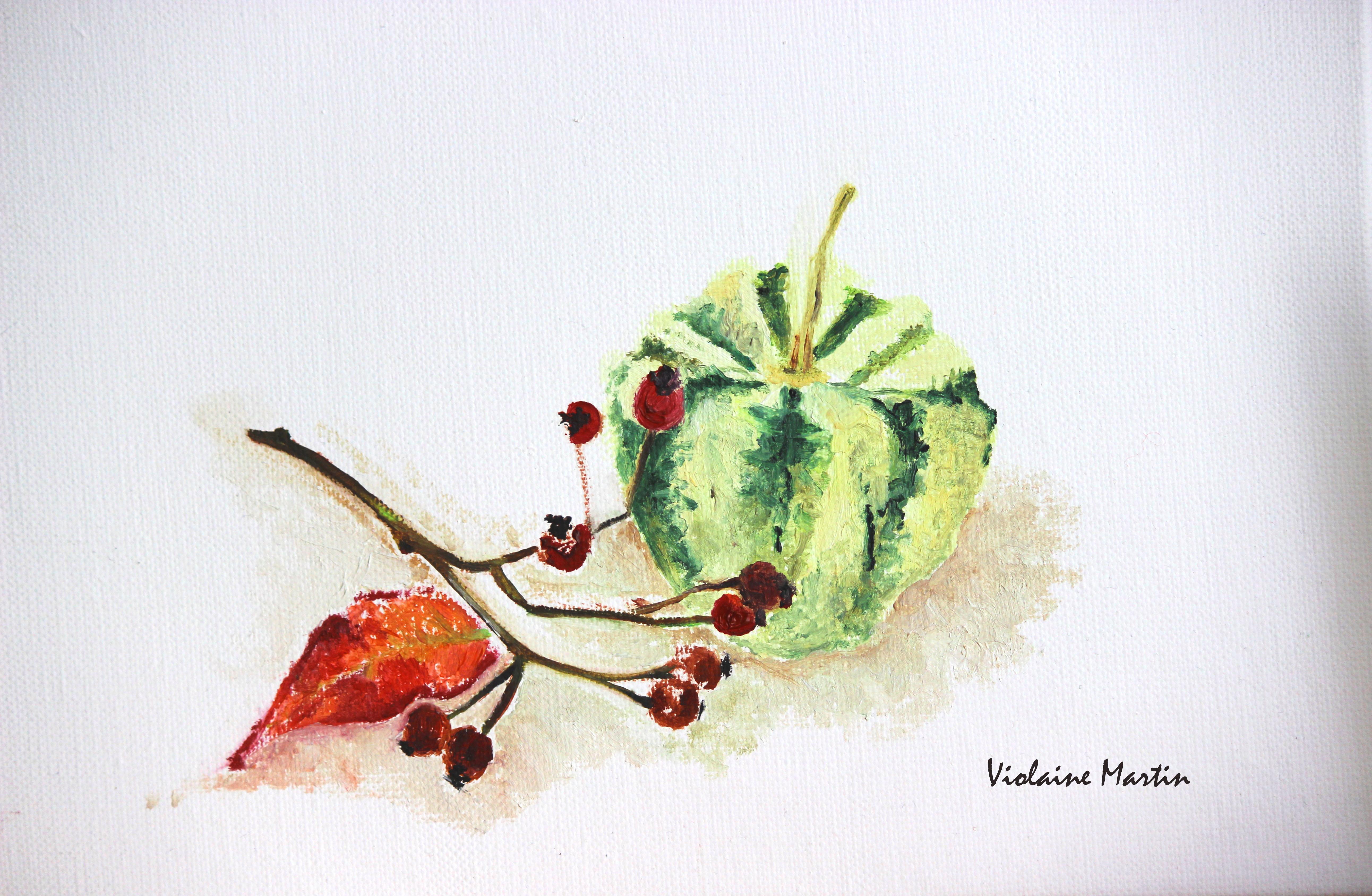 Petit cucurbitacé - Peinture à l'huile - 2011 - Violaine Martin Créations - Design textile - tissage jacquards, unis et velours - aquarelles botaniques - Hauts-de-France