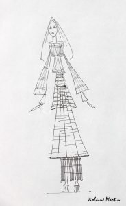 Croquis de mode - encre - Violaine Martin Créations - Design textile - tissage jacquards, unis et velours - aquarelles botaniques - Hauts-de-France