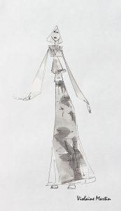 Croquis de mode - encre et lavis - Violaine Martin Créations - Design textile - tissage jacquards, unis et velours - aquarelles botaniques - Hauts-de-France
