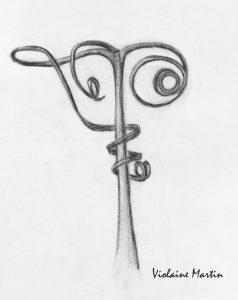 Etude n°1 d'une oeuvre de Karl Blossfeldt au fusain - 1997 - Violaine Martin Créations - Design textile - tissage jacquards, unis et velours - aquarelles botaniques - Hauts-de-France