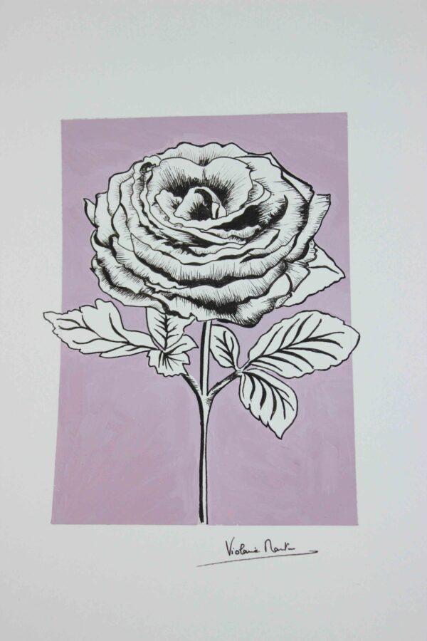Illustration botanique - rose sur fond lilas - Violaine Martin Créations - Création textile - tissage jacquards, unis et velours - Hauts-de-France