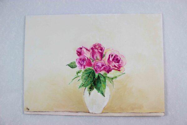 Peinture à l'huile botanique - Roses dans un vase blanc 2 - Violaine Martin Créations - Création textile - tissage jacquards, unis et velours - Hauts-de-France