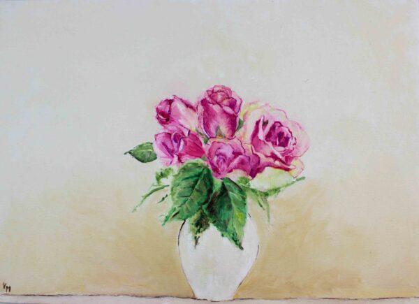 Peinture à l'huile botanique- Roses dans un vase blanc - Violaine Martin Créations - Création textile - tissage jacquards, unis et velours - Hauts-de-France