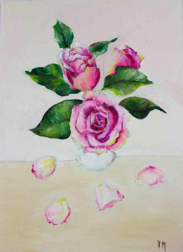 Peinture à l'huile botanique - Roses dans un vase blanc avec pétales - Violaine Martin Créations - Création textile - tissage jacquards, unis et velours - Hauts-de-France