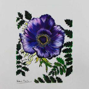 Aquarelle botanique - anémone violette - Violaine Martin Créations - Design textile - tissage jacquards, unis et velours - aquarelles botaniques - Hauts-de-France
