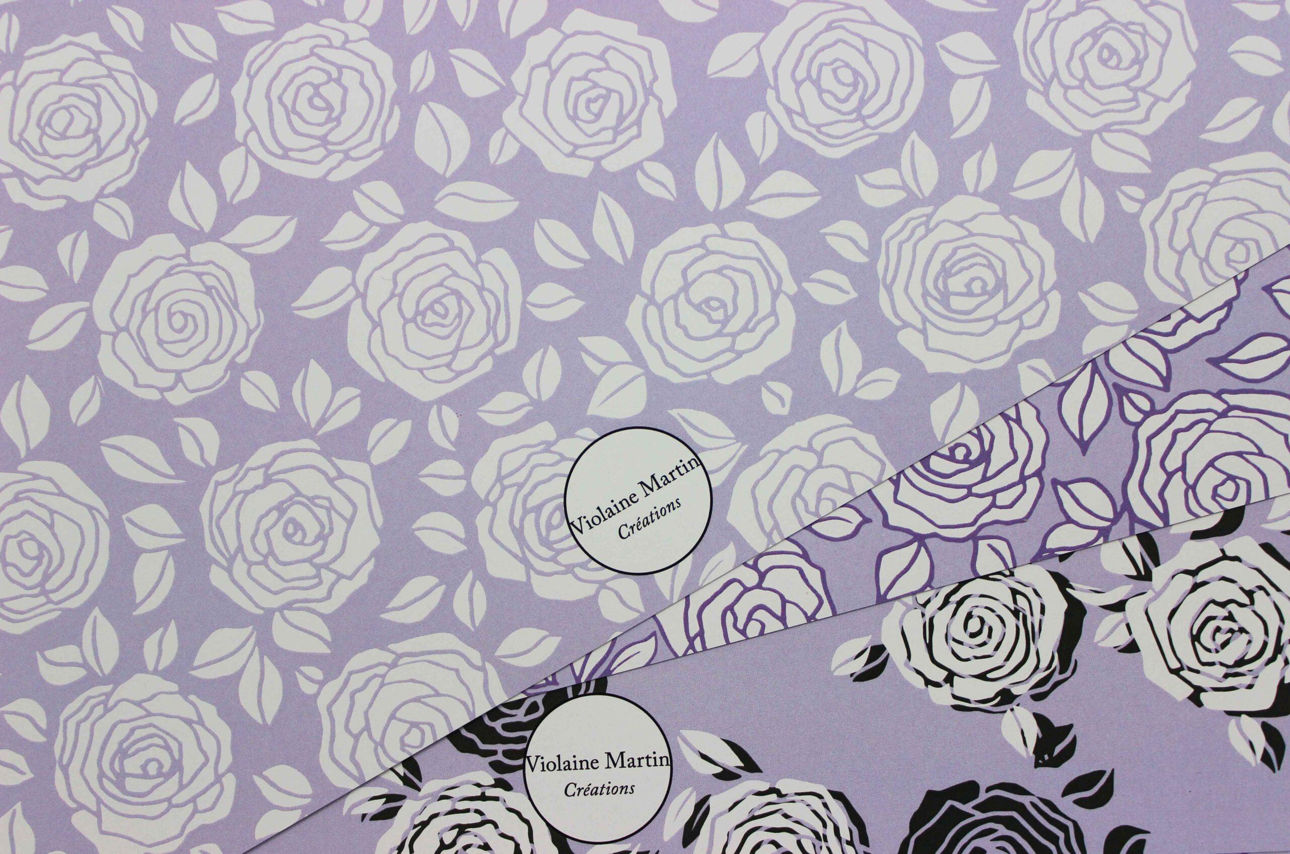 Motif textile roses anglaises - All-over - MOCO 3 - Violaine Martin Créations - Création textile - tissage jacquards, unis et velours - Hauts-de-France